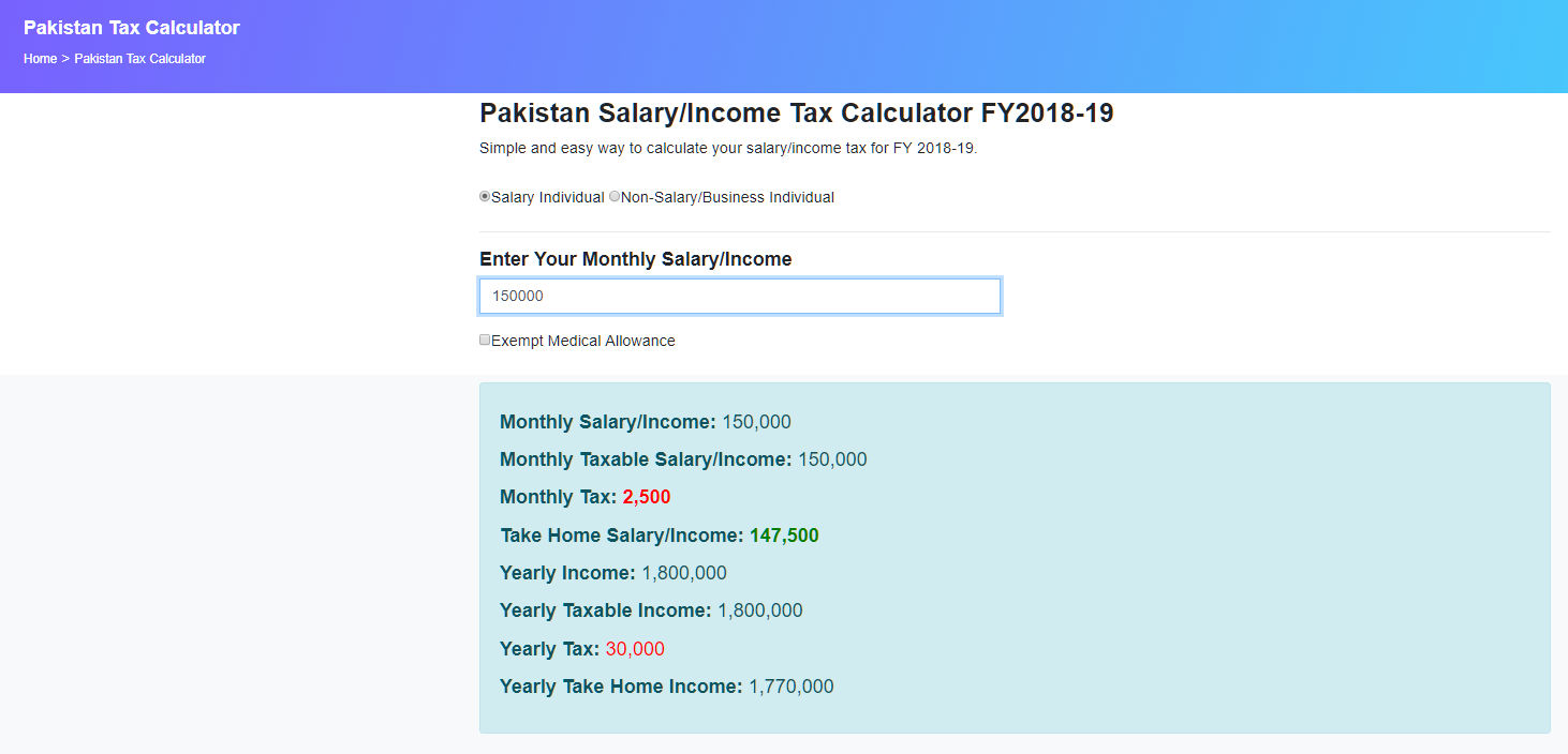 Pakistan Salary and Income Tax Calculator For Year 2018-2019
